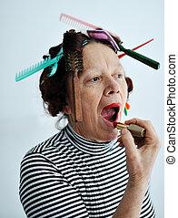 senior, het putten, lippenstift, vrouwlijk