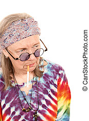 Senior Hippie Lady with Cigarette