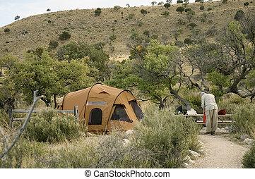 senior in camping