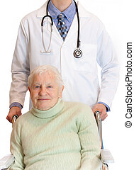 senior in wheelchair with doctor