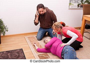 senior is unconscious, childs calling rescue service -...