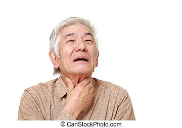 senior, japanska bemanna, ha, hals, smärta