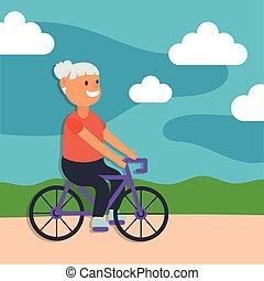 senior, jeżdżenie, litera, kobieta, czynny, stary rower