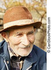 senior, kapelusz, człowiek