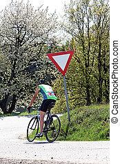 senior, karen een fiets, op, een, straat bike