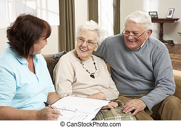 senior kobl, ind, diskussion, hos, visitor sundhed, hjem hos