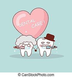 senior koppel, borstel, tand