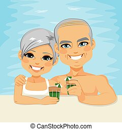 senior koppel, drinkt, pool