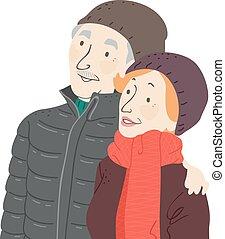 senior koppel, illustratie, winter