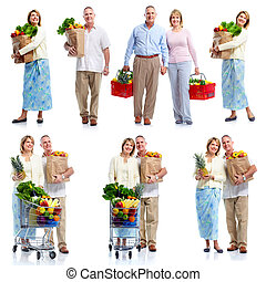 senior koppel, kruidenierswinkel, cart.