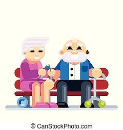 senior koppel, omhelzen, zittende , op, bench., gepensioneerd, oudere paar, verliefd
