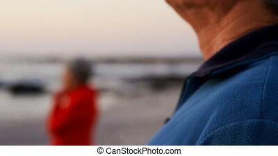 senior koppel, staand, strand, 4k