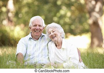 senior koppel, zittende , in park