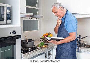 senior, książka, recepta, dzierżawa, człowiek