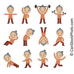 senior kvinde, exercising, sundhed fitness