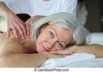 senior kvinde, har, massage