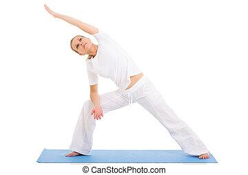 senior kvinde, yoga, på hvide, baggrund