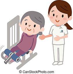 senior kvinder, exercising, duelighed