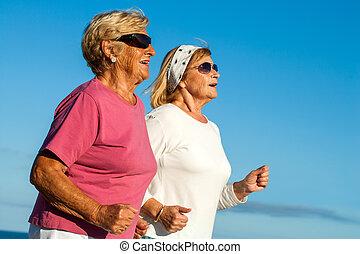 senior kvinder, jogging.