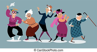 Old senior gray haired elegant lady dancingcartoon style senior ladies dancing m4hsunfo