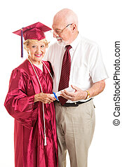 Senior Lady and Spouse Celebrate Her Graduation