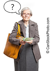 Senior lady counting money, with thought bubble