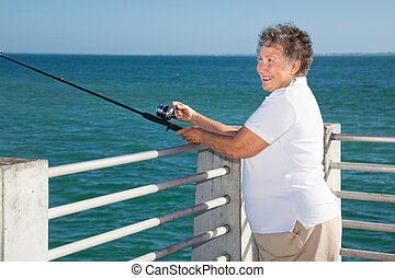 Senior Lady Fishing
