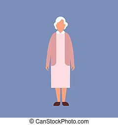 Senior Lady Grandmother Full Length Granny Flat Vector...