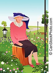 Senior Lady in a Flower Garden