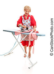 Senior Lady Ironing - Full Body
