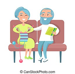 Senior Lady Knitting and Gentleman Reading on Sofa - Senior...