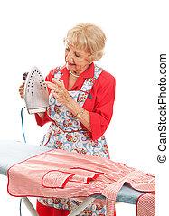 Senior Lady Tests Iron