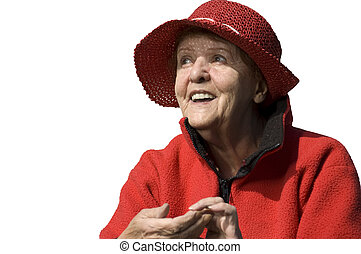senior lady  with a red hat