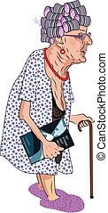 Senior Lady with Book on Sex - A cartoon of a bent-over, old...