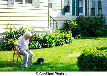 Senior lady with her dog