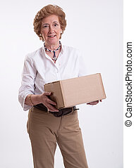 Senior lady with parcel
