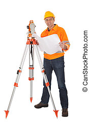 Senior land surveyor with theodolite - Portrait of Senior ...