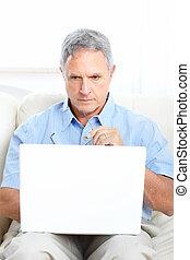 senior, laptop, man