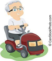 Senior Lawn Mower - Illustration Featuring an Elderly Man...