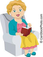 senior, lezende
