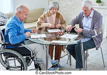 senior, lotto, spelend, mensen