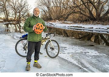winter biking or commuting concept