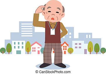 Senior male of dementia - Vector illustration.Original...