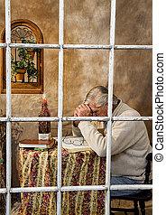 Senior Male Praying - Window View - View of Senior Male,...