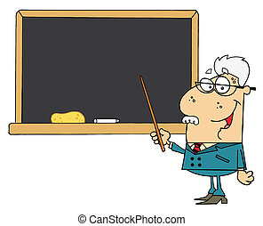 Senior Male Professor - Senior Male School Teacher Pointing...