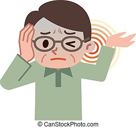 Senior male suffering from tinnitus - Vector illustration. ...