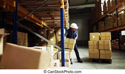 Senior male warehouse worker loading a pallet truck with...