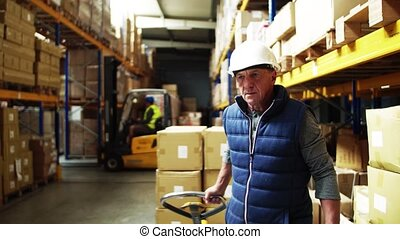 Senior male warehouse worker pulling a pallet truck. Copy...