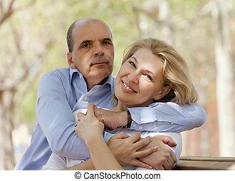 senior man and happy mature woman