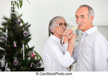 Senior man and woman celebrating New Year's Eve